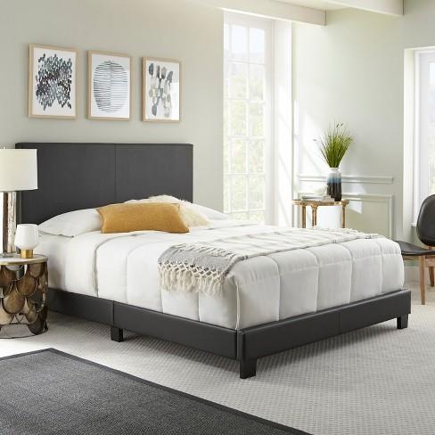 Full Langley Faux Leather Upholstered Platform Bed Frame Black Eco Dream Target