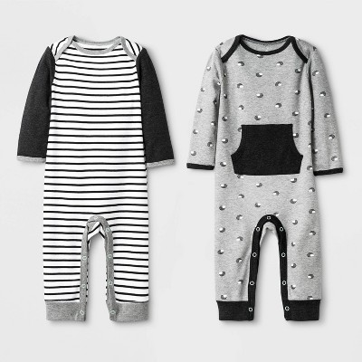 Baby 2pk Coveralls - Cloud Island™ Black 0-3M