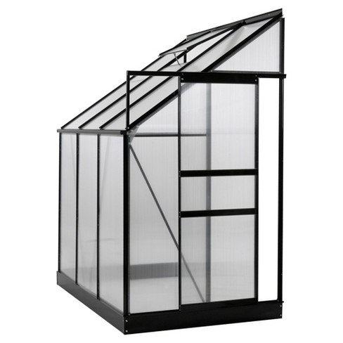 Aluminium Lean To Greenhouse 25 Sq Ft With Sliding Door And Roof Vent 6 X 4 X 7 Medium Clear Ogrow Target