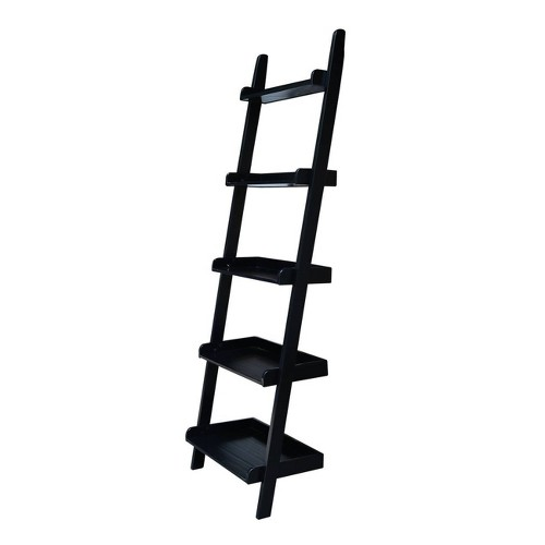 '75.25'' 5 Tier Solid Wood Leaning Bookcase Black - International Concepts'