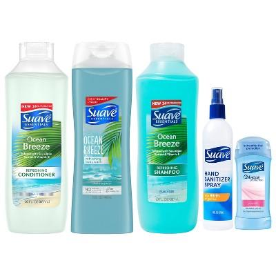 Suave Shampoo + Conditioner + Body Wash + Hand Sanitizer + Antiperspirant Deodorant Family Pack Bundle - 5ct