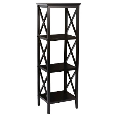 X-Frame Collection 4-Shelf Storage Tower Black - RiverRidge