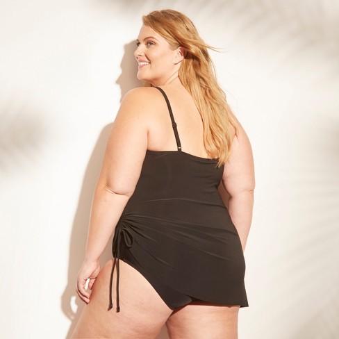 758768f8838 Women s Side Tie Swim Dress - Aqua Green® Black 26W   Target