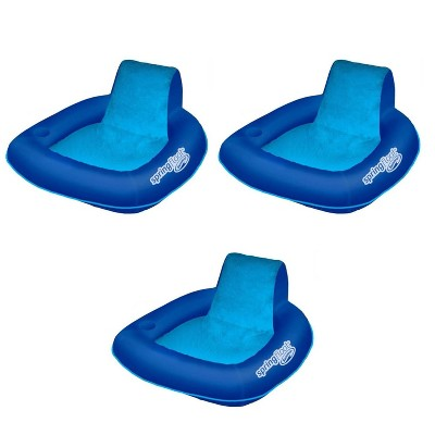 SwimWays 6060074 Spring Float SunSeat Comfortable Summertime Relaxation Lounge Seat with Cup Holder for Water Pool Lake River Beach, Blue (3 Pack)