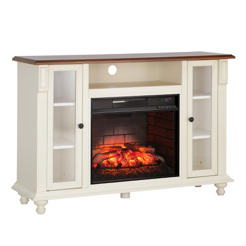 Captio Infrared Electric Fireplace Tv Stand Antique White Aiden