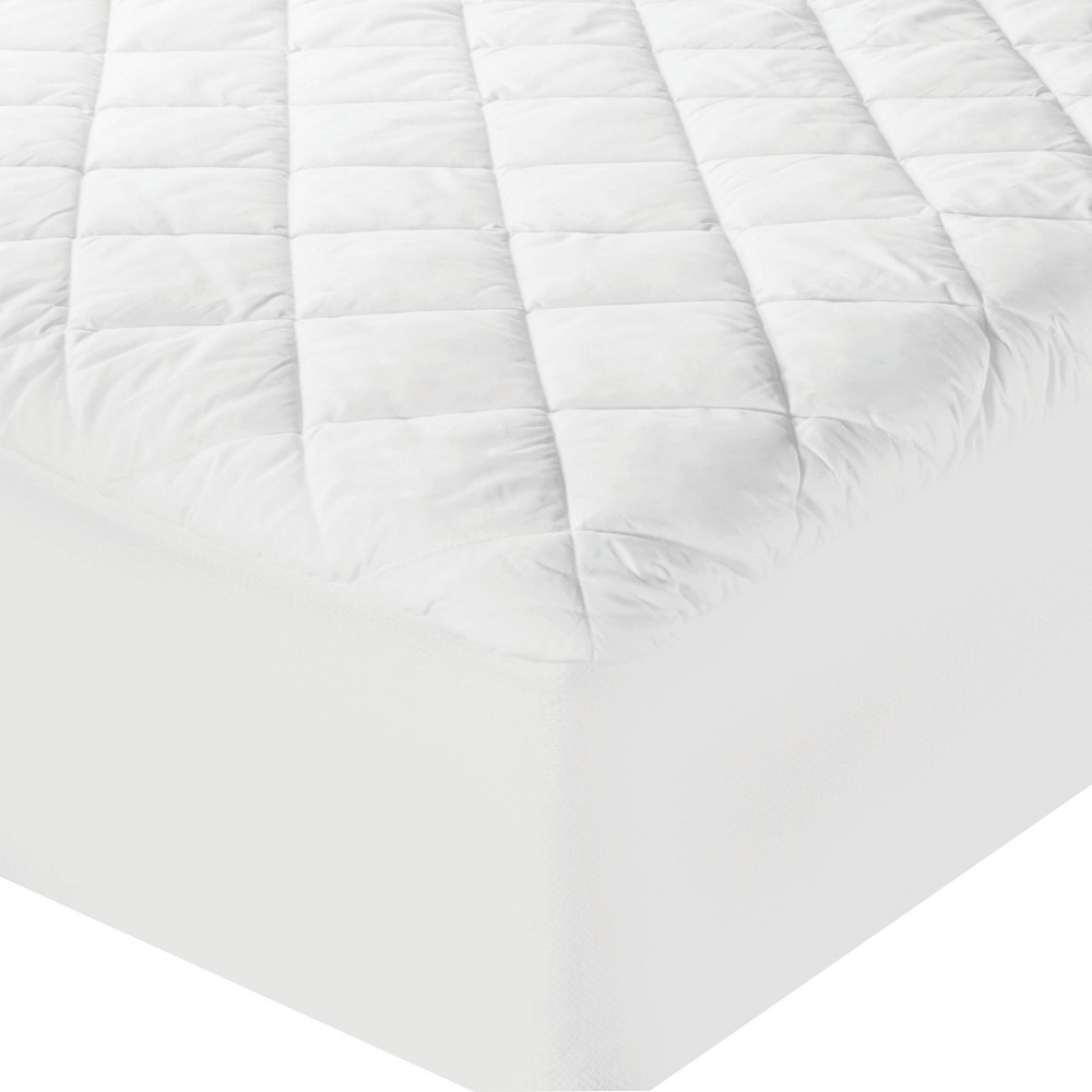 Image of Full Luxury Cotton Mattress Pad White - Sealy