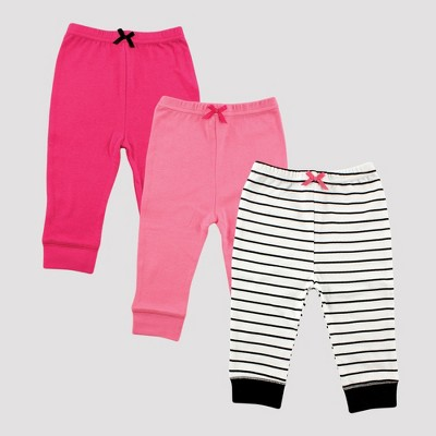Luvable Friends Baby Girls' 3pk Tapered Ankle Pants, Stripes - Pink/Black 0-3M