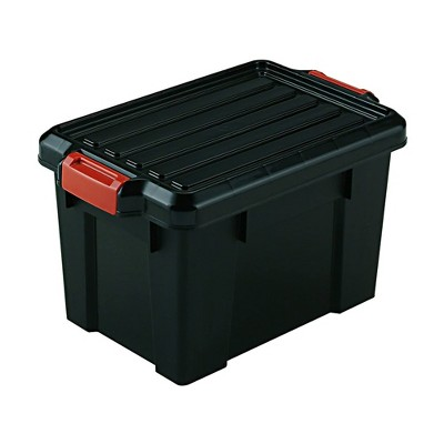IRIS USA 21 Quart Heavy Duty Secure Latching Totes with Reinforced Lids and Built In Handles for Home Storage Organization, Black (4 Pack)