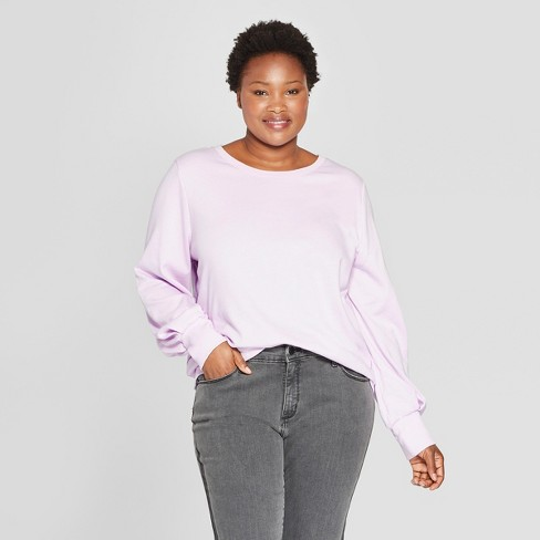69463a0af11 Women s Plus Size Balloon Long Sleeve Pullover - Ava   Viv™   Target