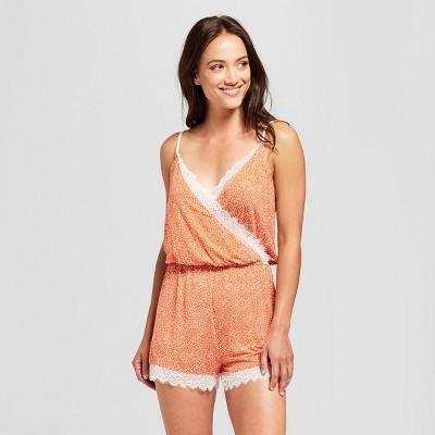 Women's Polka Dot Total Comfort Lace Romper Pajama Set - Gilligan & O'Malley™ Rust XS