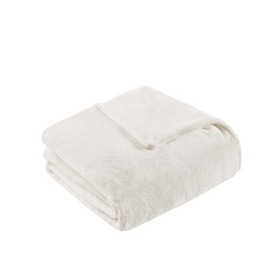 "60"" x 70"" 18lbs Plush Weighted Blanket with Removable Cover Ivory"