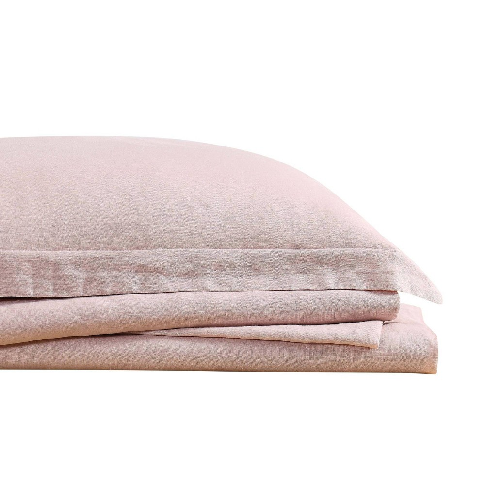 Image of California King 300 Thread Count Linen Solid Sheet Set Blush - Brooklyn Loom