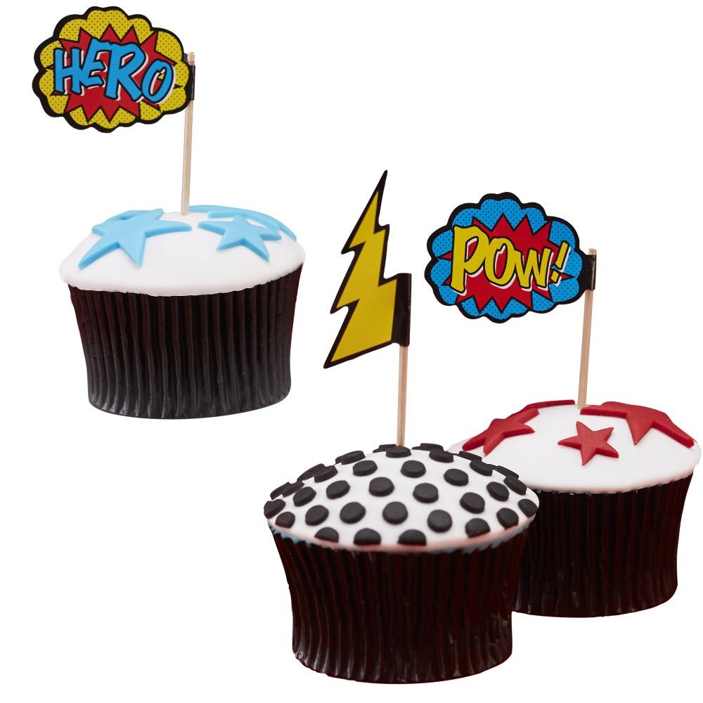 20ct Ginger Ray Cupcake Picks Comic Superhero, Multi-Colored