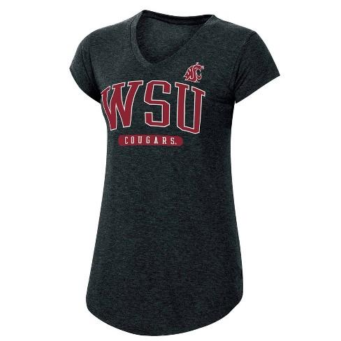 NCAA Washington State Cougars Women's Short Sleeve V-Neck Black T-Shirt - image 1 of 2