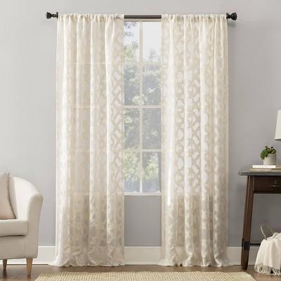 Yvette Trellis Jacquard Sheer Rod Pocket Curtain Panel - No. 918