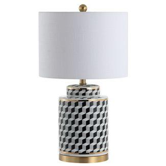 24.5u0022 Ellie Tumbling Block Ceramic/Metal LED Table Lamp Black (Includes Energy Efficient Light Bulb) - JONATHAN Y
