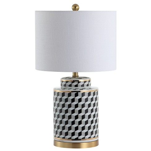 "24.5"" Ellie Tumbling Block Ceramic/Metal LED Table Lamp Black (Includes Energy Efficient Light Bulb) - JONATHAN Y - image 1 of 4"
