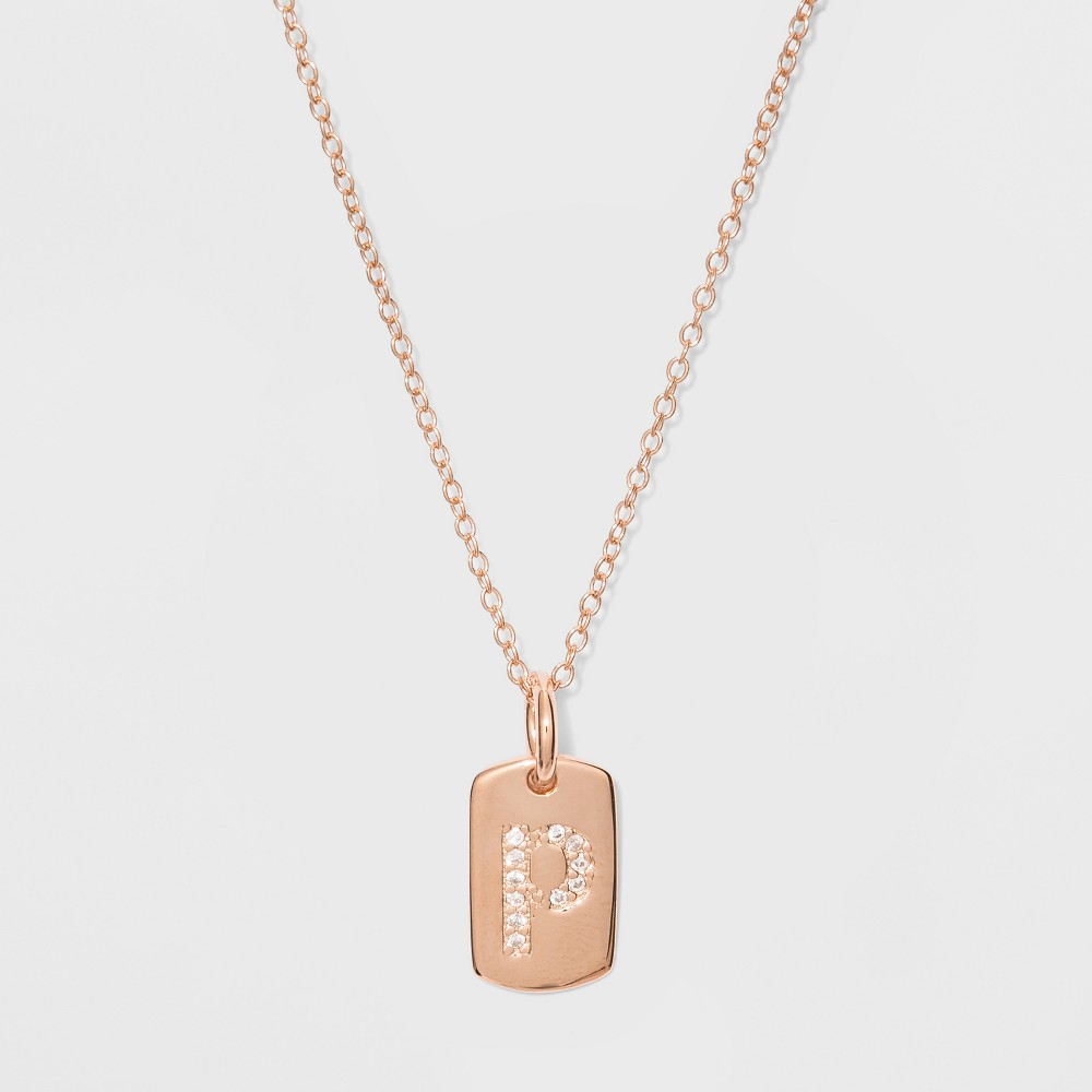 Sterling Silver Initial P Cubic Zirconia Necklace - A New Day Rose Gold, Rose Gold - P