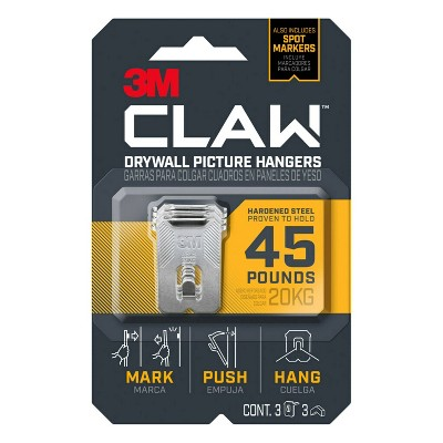 3M CLAW Drywall Picture Hanger 45 lb with Temporary Spot Marker + 3 Hangers and 3 Markers