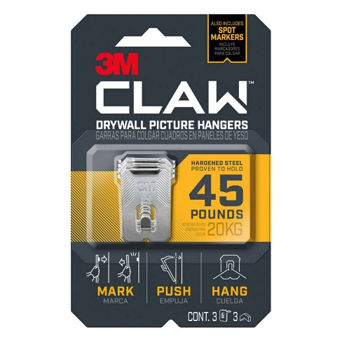 3M Company 40lb 3ct CLAW Drywall Picture Hanger with Temporary Spot Marker - image 1 of 2
