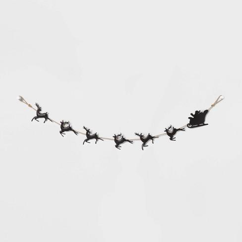 Santa Sleigh & Reindeer Garland Black - Wondershop™ - image 1 of 2