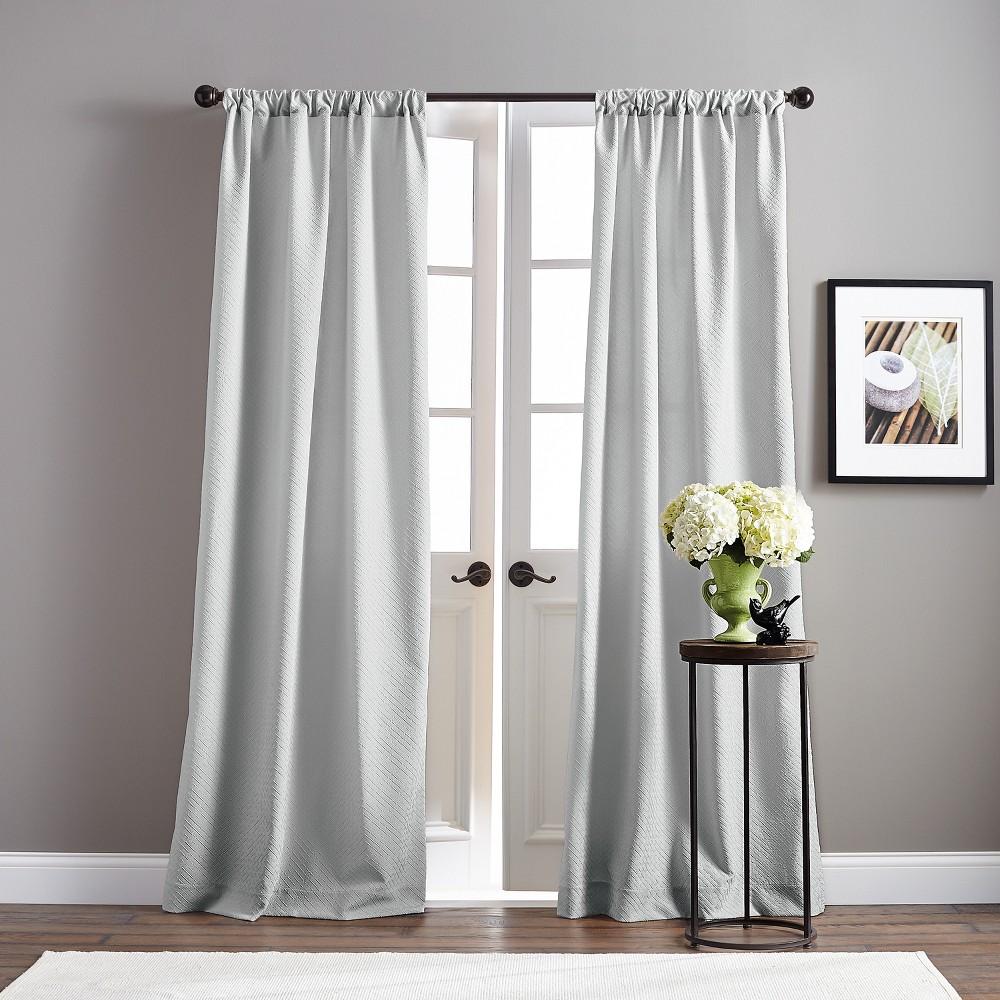 Image of 108 Basket Poletop Pair Curtain Panel Gray
