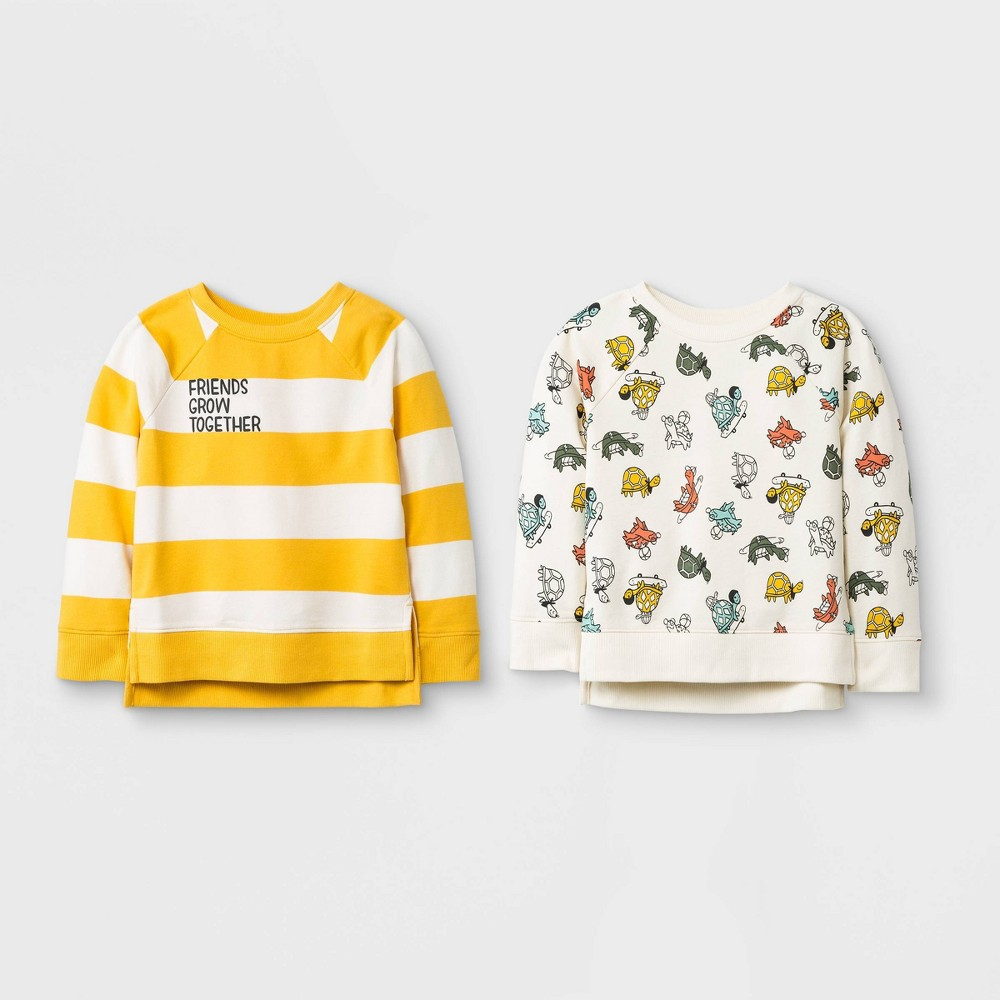 Toddler Boys' French Terry 2pk Friends Grow Together Pullover - Cat & Jack Yellow/Cream 3T