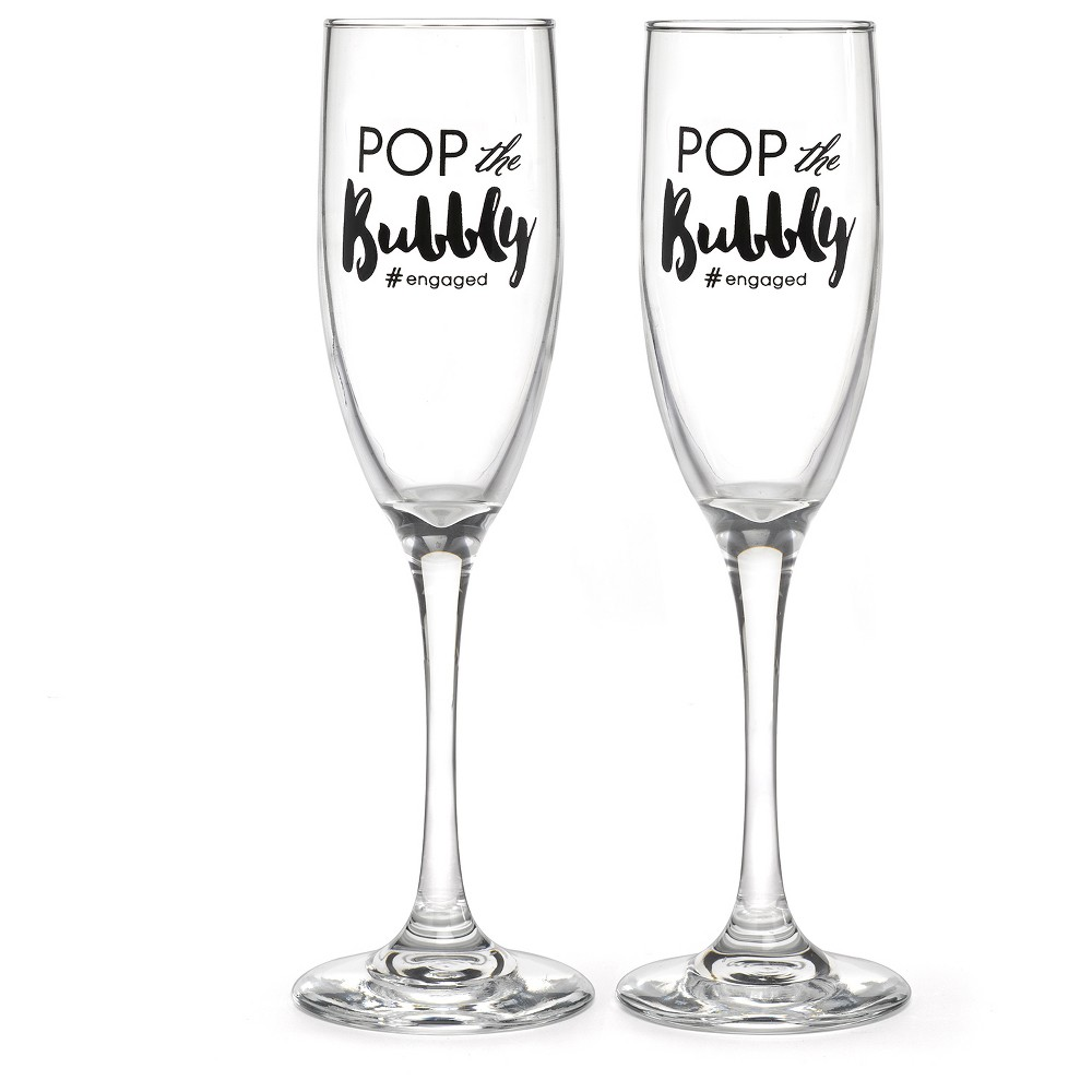 2ct Engaged Flutes Black, Drinkware
