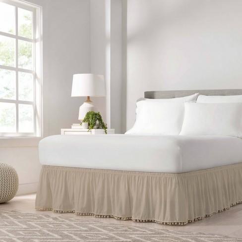 Wrap Around Pom Pom Bed Skirt - EasyFit™ - image 1 of 4