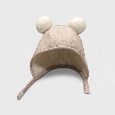 Baby Girls' Sherpa Bonnet with Ears Hat - Cat & Jack™ Pink 0-6M