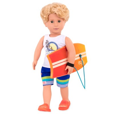 "Our Generation 18"" Beach Boy Doll with Surfboard - Gabe"