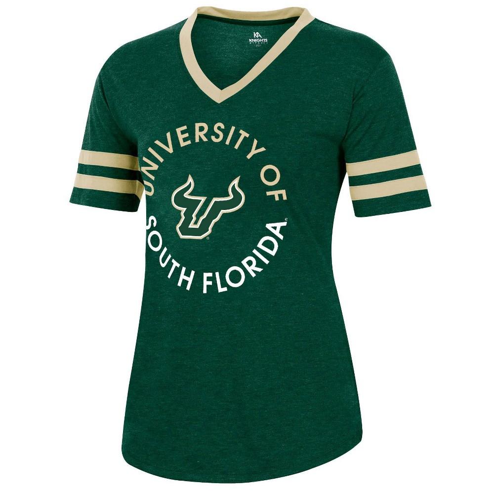 Ncaa South Florida Bulls Women 39 S Short Sleeve V Neck Heathered T Shirt L