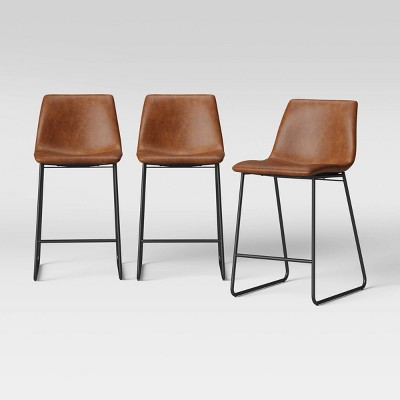 3pk Bowden Faux Leather and Metal Counter Height Barstool Caramel - Project 62™