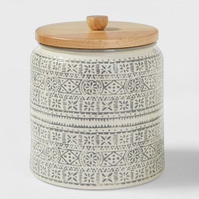 Medium Stoneware Genesis Stripe Food Storage Canister with Wood Lid White/Gray - Threshold™
