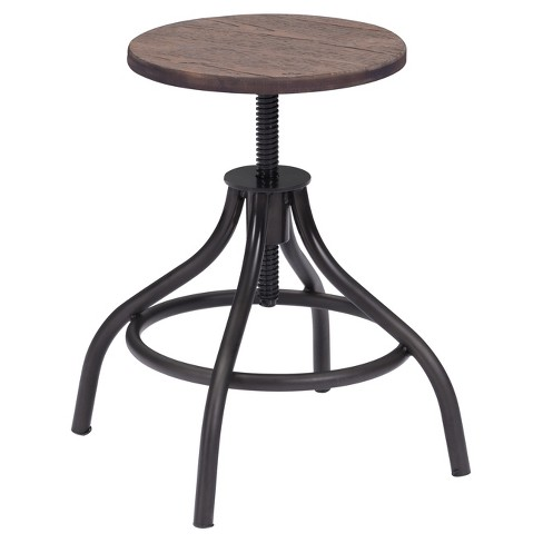 "Vintage 17"" Adjustable Stool - Metal/Rustic Wood - ZM Home - image 1 of 3"