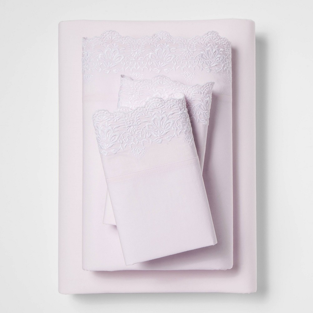 California King Cotton Embroidered Hem Solid Sheet Set Pink - Simply Shabby Chic was $61.99 now $43.39 (30.0% off)