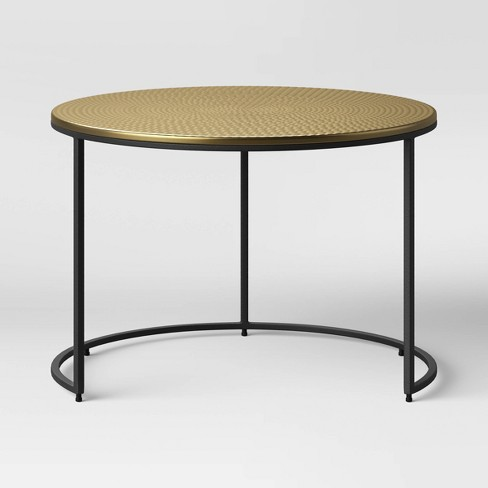 Brae Hammered Coffee Table With Gold Top And Black Base Project 62