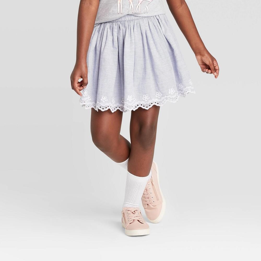 Image of Girls' Eyelet Striped Skirt - Cat & Jack Blue XL, Girl's, White Blue