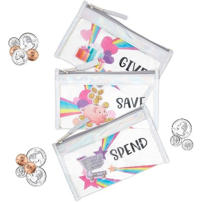 Set of 3 Give, Save, Spend Cash Zipper Pouches for Kids Saving Money, Educate Organize Budget