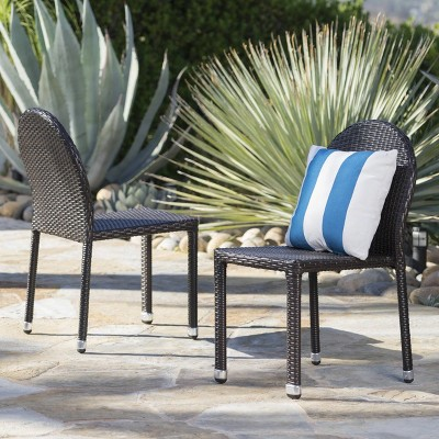 Aurora 2pk Wicker Stacking Chairs - Christopher Knight Home