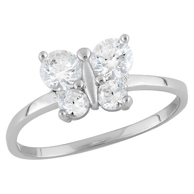 Tiara Kid's Cubic Zirconia Butterfly Ring in Sterling Silver