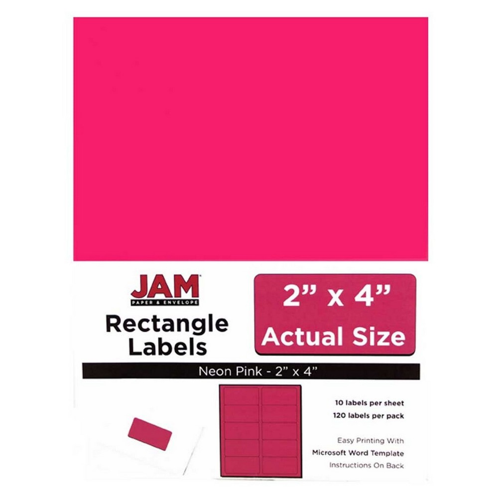 Jam Paper Mailing Labels 2 x 4 120ct - Neon Pink