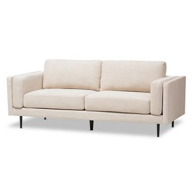 Brittany Retro Mid - Century Modern Fabric Upholstered 3 - Seater Sofa - Light Beige - Baxton Studio