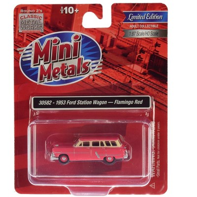 1953 Ford Station Wagon Flamingo Red 1/87 (HO) Scale Model Car by Classic Metal Works