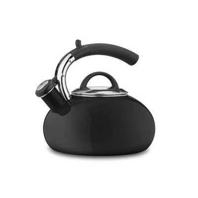 Cuisinart CTK-EOS15BK Classic Prodigy Modern 2 Quart Porcelain Enamel on Steel Whistling Tea Kettle Pot for Hot Water and Coffee, Black