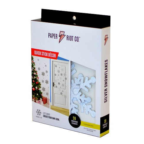 Paper Riot Co. 59pc Removable Silver Snowflake Decals - image 1 of 4