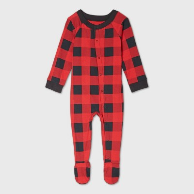 Baby Holiday Buffalo Check Flannel Matching Family Footed Pajama - Wondershop™ Red 6-9M