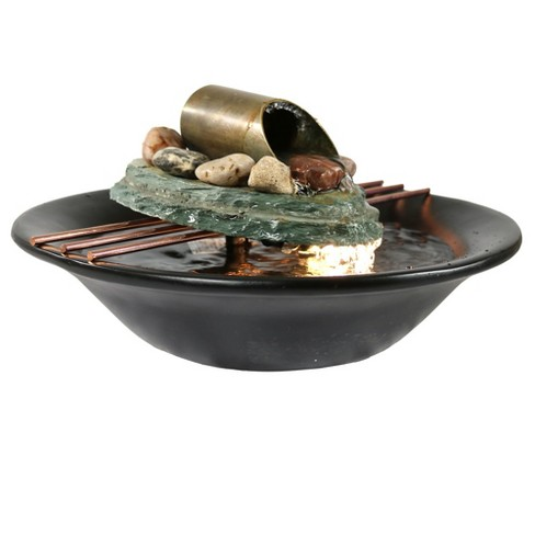 7 H Slate Soothing Balance Indoor Tabletop Water Fountain With Led Light Sunnydaze Decor Target