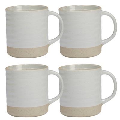 Certified International Artisan Ceramic Mugs 22oz White/Brown - Set of 4