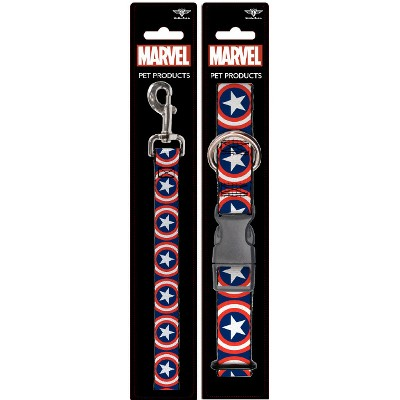 Captain America - Buckle-Down Dog Leash & Collar Set - L